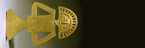Gold Tolima pendant, circa 700 - 1000 CE. Walters Museum, ex Tiffany & Co collection.