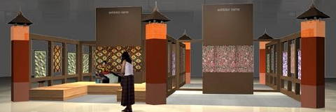 Booth design for Beyond Fashion! Art to Wear, the Adiwastra traditional textiles exhibition in Jakarta.