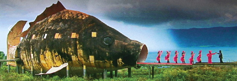 still from joshua oppenheimer film the act of killing with executive producer werner herzog