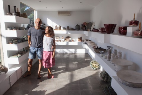 Marcello Massoni and Michela Foppiani, who own Gaya Ceramic and Design, are pictured in their studio's gallery. Ubud, Bali, Indonesia, April 25, 2013. Gede Aryadi for The Wall Street Journal