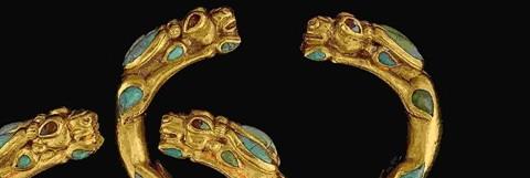 Pair of gold, turquoise and carnelian bracelets from the Bactrian hoard.