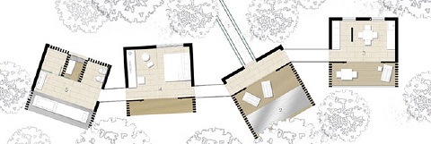 The villa box is broken to allow it to be arranged on the site and accommodate existing trees.